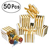 Small Shiny Gold Cube Candy Treat Boxes Set With Ribbon Gold White Strips Treat Boxes Bulk Wedding Party Favors Baby Shower Birthday Party Supplies 2x2x2 Inch, 50pc
