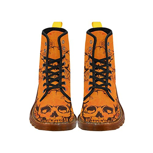 Leinterest Skull With Roses, Orange Martin Boots Fashion Shoes For Women
