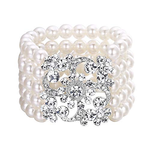 BriLove Women's Vintage Inspired Gatsby Style Crystal Simulated Pearl Stretch Bracelet Clear -
