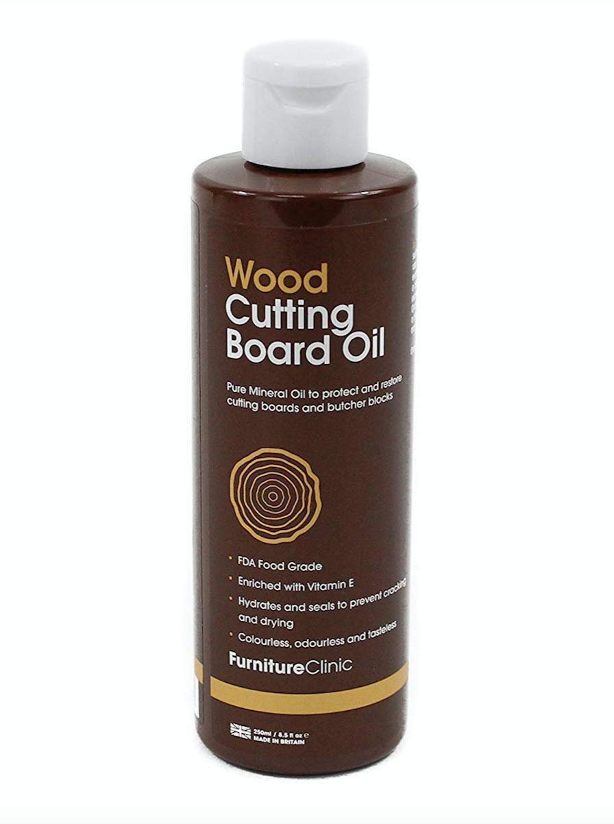 Furniture Clinic Chopping Board Oil | Food Grade Mineral Oil to Protect and Restore | Use on Wood Cutting Boards, Butcher Blocks and Countertops (250ml)