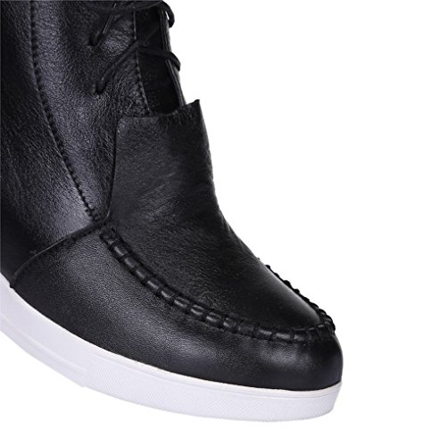 Closed Materials with WeiPoot Thread Solid Toe 39 Women's and Bandage Blend Black Boots 4w4nISf