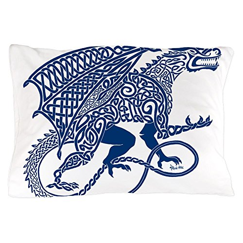 """CafePress Celtic Knotwork Dragon, Blue Standard Size Pillow Case, 20""""x30"""" Pillow Cover, Unique Pillow Slip"""