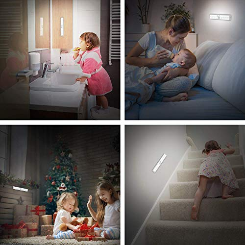Motion Sensor Closet Lights, OxyLED Cordless Under Cabinet Lighting, Wireless Stick-on Anywhere Battery Operated 10 LED Motion Sensor Night Light, Safe Lights for Cabinet Wardrobe Stairs (1 Pack)
