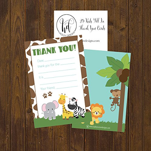 25 Jungle Kids Thank You Cards, Fill In Thank You Notes For Kid, Blank Personalized Thank Yous For Birthday Gifts, Stationery For Children Boys and Girls Photo #2