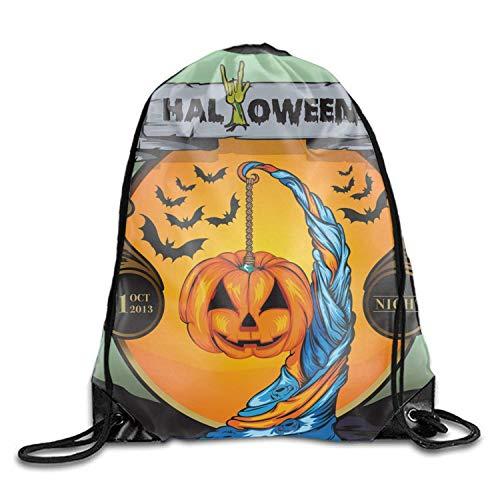 Andrea Back Men & Women Sport Gym Sack Halloween Night 31 Drawstring Backpack Bag (White, Purple, Burgundy,Black,Navy Blue,Red,Blue) Halloween night -