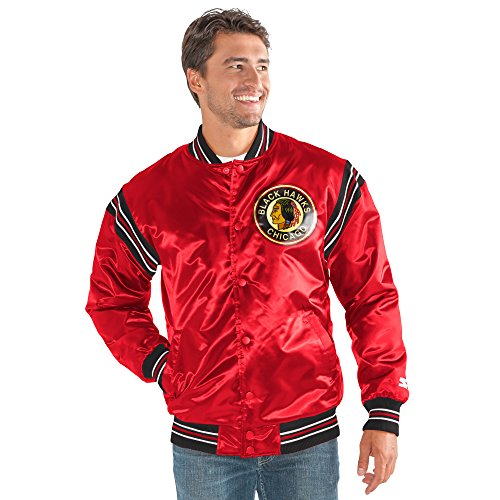 STARTER NHL Chicago Blackhawks Men's The Enforcer Retro Satin Jacket, X-Large, (Throwback Jersey Jacket)
