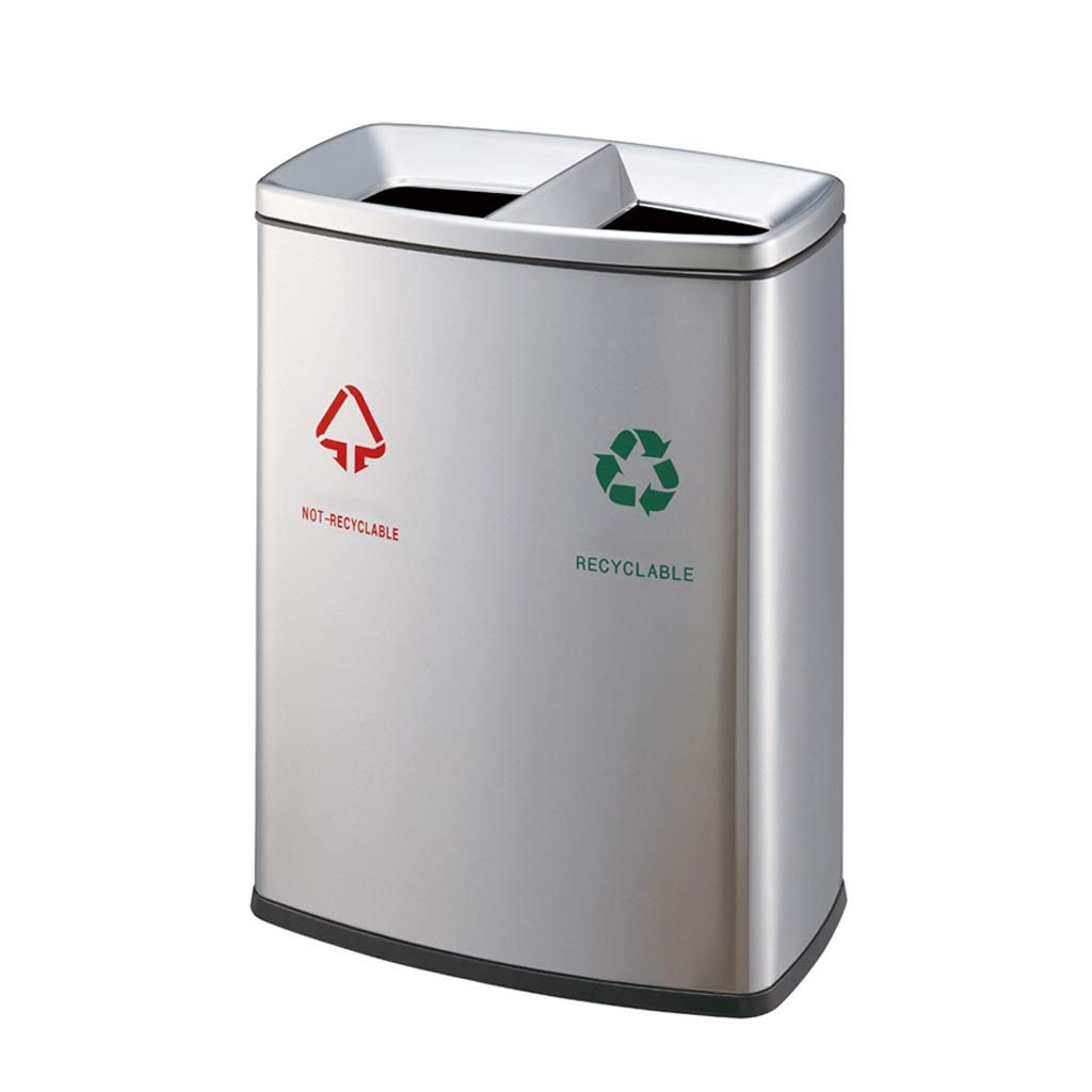 Stainless Steel 2 in 1 Outdoor Dustbins Classified Double Barrel Trash Can Park Office in/Outdoor Commercial Bathroom Paper Recycling Bins (Color : Silver, Size : 26.7912.2128.96inchs)