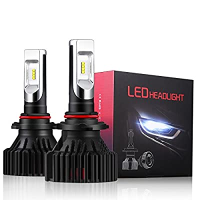 Alla Lighting UM-2018 Newest Version 8000 Lumens Extremely Super Bright Cool White High Power Mini 9006 HB4 9006LL Low Beam LED Headlight Bulb All-in-One Conversion Kits Headlamps Bulbs Lamps