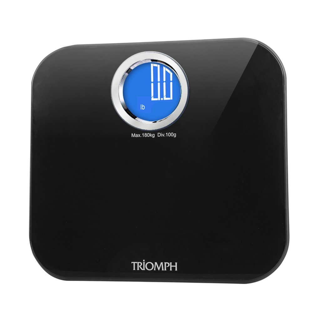 Triomph Precision Digital Body Weight Scale Bathroom Scale with Step-On Technology and Backlit LCD Display, 6mm Tempered Glass, 400 Pounds Weight Loss Monitor, Black