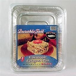 Durable Foil Disposable Casserole Lasagna Pan with Lid 1 Count - Case of 12
