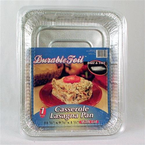 Durable Foil Disposable Casserole Lasagna Pan with Lid 1 Count - Case of 12