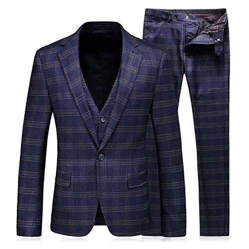 WEEN CHARM Mens 3-Piece Suit Slim Fit Plaid One Button Casual Wedding Blazer Jacket Tux Vest Pants Set ()