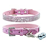 PUPTECK Basic Adjustable Dog Cat Collar Bling Diamante with Bells - Extra Small