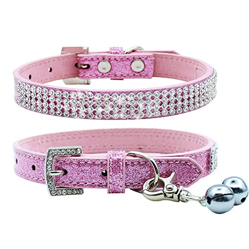 PUPTECK Basic Adjustable Dog Cat Collar Bling Diamante with Bells - Extra Small (Kitten Collar Rhinestone)