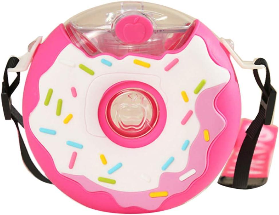 Amiispe Donut Care Botella de Agua Thirsty Kids Freestyle Donuts Botella de Agua con Taza de Paja Dura Resistente a la mordedura y Banda de Agarre fácil