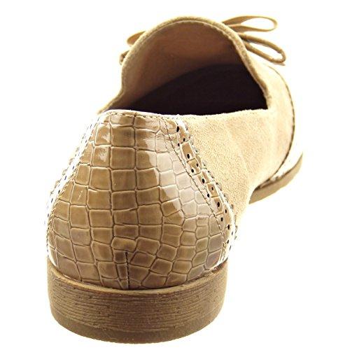 Sopily - Scarpe da Moda Mocassini ballerina alla caviglia donna nodo pelle di serpente perforato Tacco a blocco 2 CM - Khaki