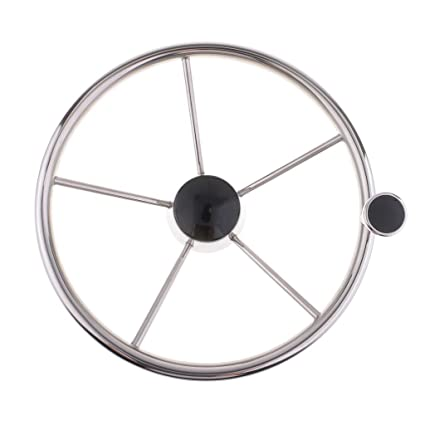 "13-1//2/"" Destroyer Style 5 Spoke Steering Wheel Stainless Steel Marine Sport"