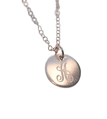 64bae6c6a47 Image Unavailable. Image not available for. Color  Personalized Disc  Necklace - Rose Gold Monogram Initial Disc Necklace Engraved Disc Pendant