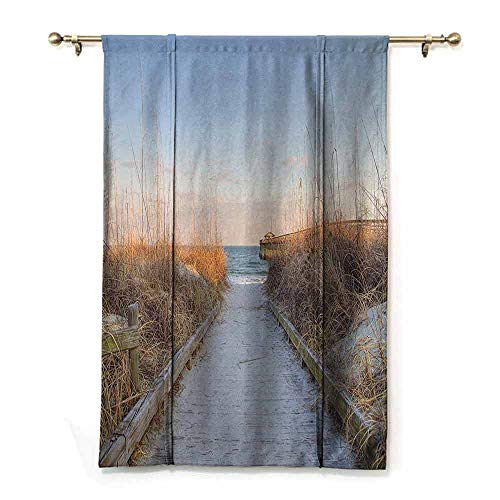 SONGDAYONE Kids Room Roman Curtains Seaside Decor Collection Easy to Clean Sunset Sea Oats on The Atlantic Coast Myrtle Beach State Park Myrtle Beach Image Print,W33 x L64 Ivory Blue (To Dallas Beach Myrtle)