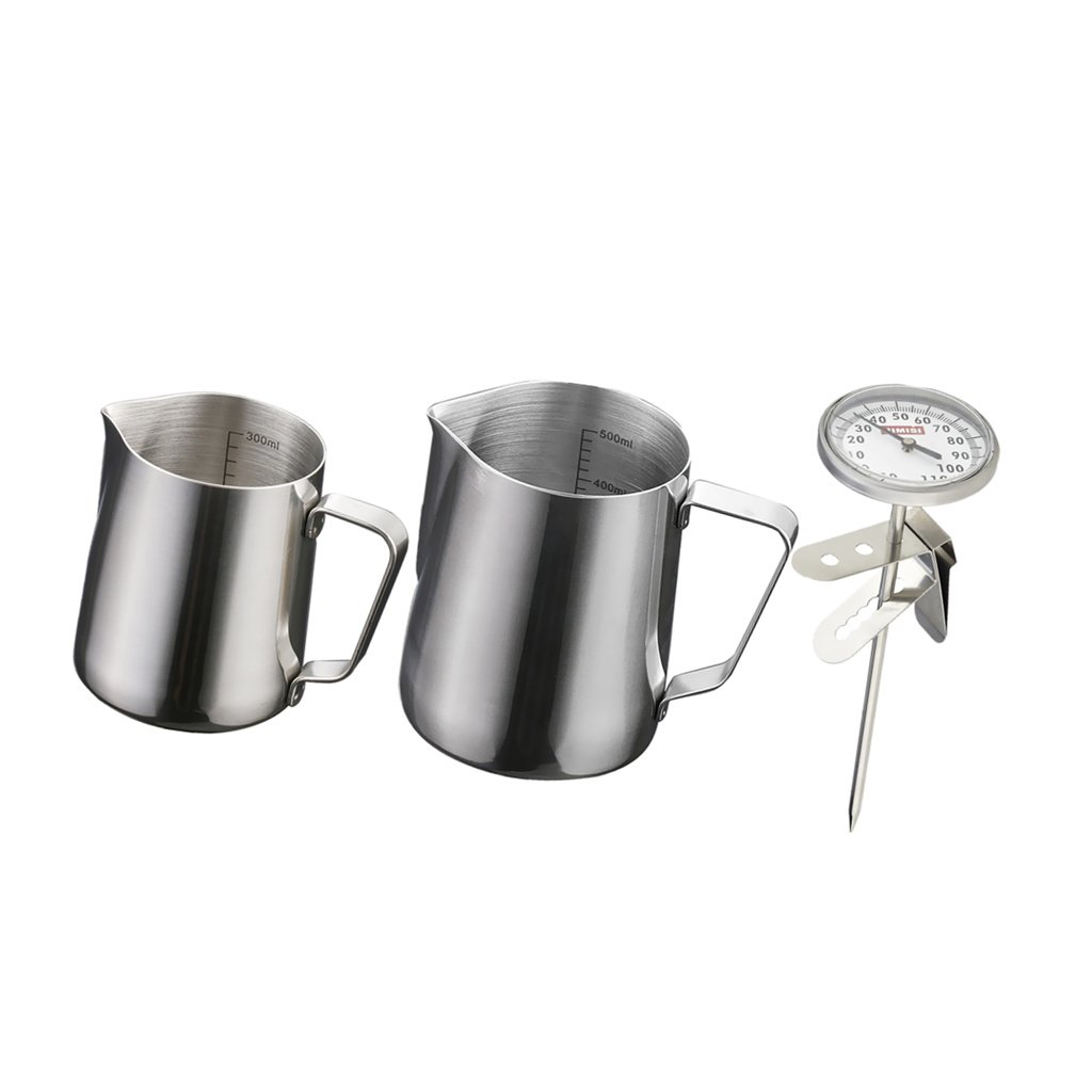 Sharplace 1 Set Milk Coffee Pitcher Latte Espresso Frothing Scale Thermometer Jug