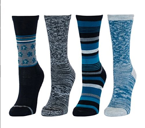 Kirkland Signature Womens Trail Sock Pack of 4, Assorted, Fits US shoe sizes 4-10