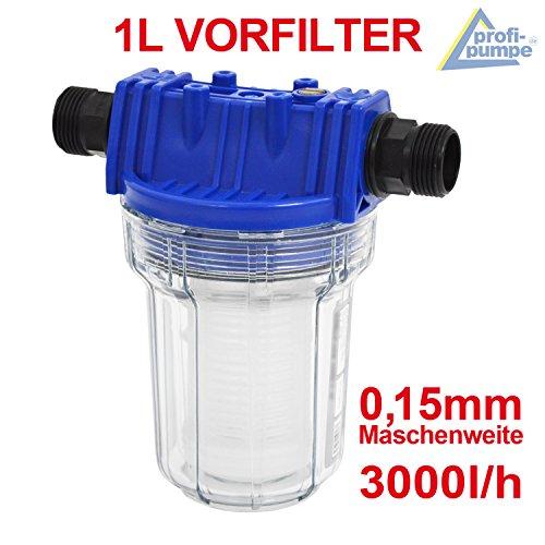 FILTER VORFILTER PUMPENFILTER 1000-1 für HAUSWASSERWERK HAUSWASSERAUTOMAT KREISELPUMPE JETPUMPE BRUNNENPUMPE PUMPE TAUCHPUMPE FEINFILTERUNG bei WASCHMASCHINEN, SCHALTGERÄTEN, KREISELPUMPEN etc. 1L max. 3000L/h Maschenweite: 0,15mm