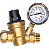 Water Pressure Regulator. Brass Lead-free Adjustable Water Pressure Reducer for Rv with Guage. Includes Inlet Screened Filter. Model A01-1117tm