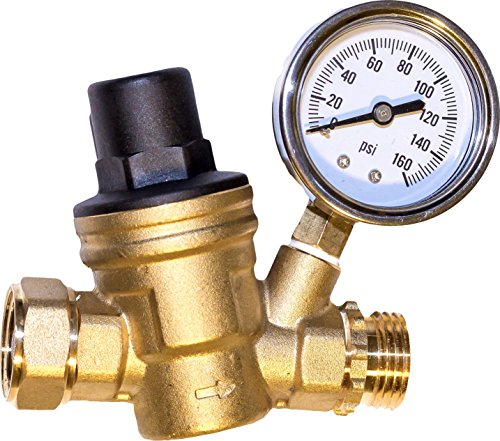 Water Pressure Regulator. Brass Lead-free Adjustable Water Pressure Reducer for Rv with Guage. Includes Inlet Screened Filter. Model A01-1117tm (Pressure Regulator Valve compare prices)