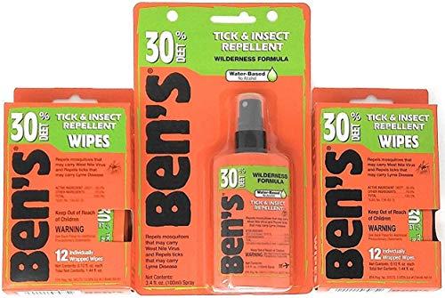 (Ben's 30% Deet Mosquito Tick Insect & Bug Repellent Spray Pump & Field Wipes)