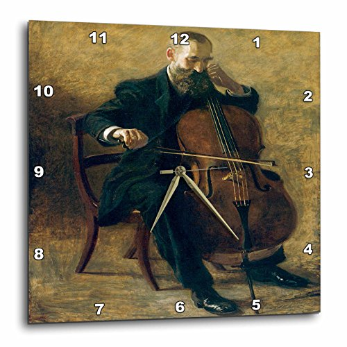 3dRose dpp_171340_3 The Cello Player by Thomas Eakins Man Sitting Playing a Cello-Wall Clock, 15 by 15-Inch