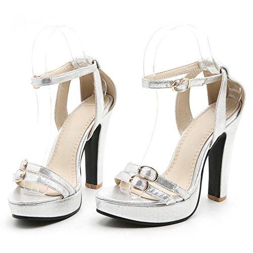 COOLCEPT Mujer Elegant Al Tobillo Sandalias Fiesta Vestir Tacon Ancho Alto Zapatos Plata