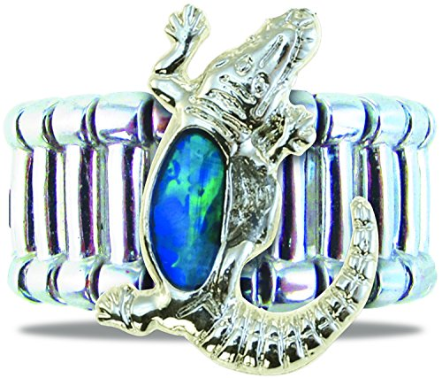 Puzzled Silver & Blue Alligator Adjustable Ring, Heavy-Weight Fashionable Sparkling Elegant Novelty Jewelry with Genuine New Zealand Paua Shell Wildlife Themed Fashion Statement Unisex Hand Accessory