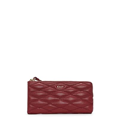 ff70c9f9f DKNY Lara Medium Scarlet Quilted Leather Wristlet Pouch Red leather ...