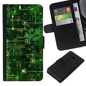 - GREEN ART COMPUTER TECHNOLOGY CODE CHIP - - Prima caja de la PU billetera de cuero con ranuras para tarjetas, efectivo desmontable correa para l Funny House FOR Samsung Galaxy A3