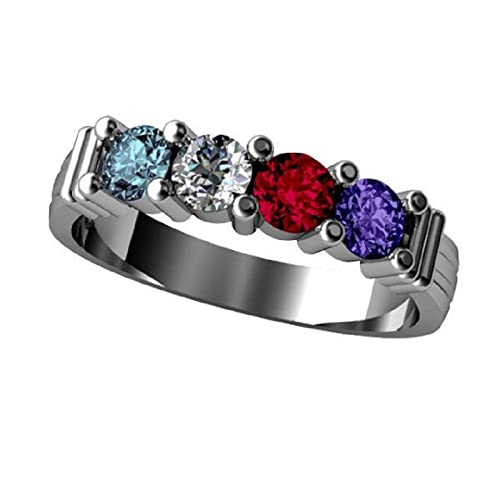 NANA Lucita Mothers Ring 1 to 6 Simulated Birthstones in Sterling Silver or 10k White Yellow Rose Gold