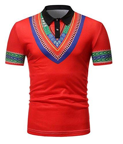 Bravepe Mens Casual Slim African Print Dashiki Lapel Short Sleeve Polo Shirt Red S