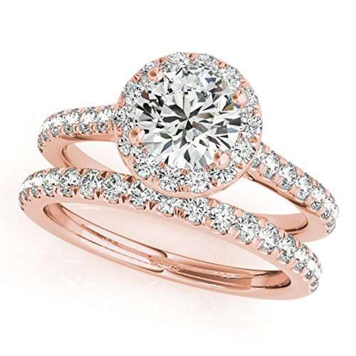 (MauliJewels 0.75 Ct. Diamond Engagement Bridal Ring Set 14K Solid Rose Gold)
