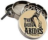 The Dude Abides 4 Piece Herb Grinder Premium Quality Zinc Titanium 2.5'' wide Diamond Grind Big Lebowski Bowling Vinatge Classic Movie - Gift Box