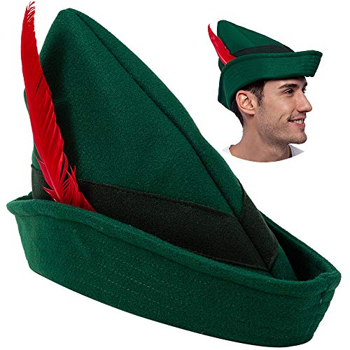 Peter Pan Halloween Costume For Adults (Felt Robin Hood Hats with Feather One Size Fits All for Adult Alpine Hat Party Costume, Peter Pan Hat, German Hat, Green Tyrolean Hat Halloween Dress Up Party)