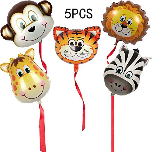 Giraffe Monkey - DLOnline [Big Size] 5PCS Tropical Hawaii Animals Balloons Birthday Party Decorations (Tiger, Lion, Monkey, Zebra, Giraffe) About 18 inches
