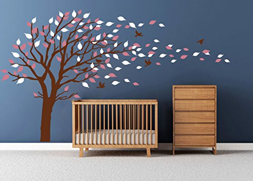 LUCKKYY Tree Blowing in the Wind Tree Wall Decals Wall Sticker Vinyl Art Kids Rooms Teen Girls Boys Wallpaper Murals Sticker Wall Stickers Nursery Decor Nursery Decals (Brown+pink+Right) (Pink Brown Wall Decor)