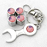 US Flag American 4pcs Metal Tire Air Valves Stems Cap Universal Fit with Wrench
