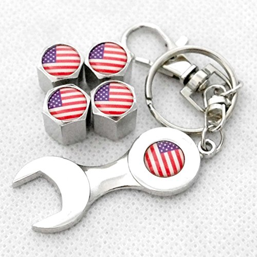 US Flag American 4pcs Metal Tire Air Valves Stems Cap Universal Fit with Wrench by YX