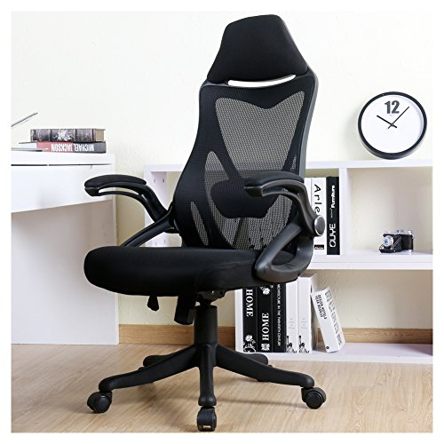 BERLMAN Ergonomic High Back Mesh Office Chair with Adjustable Armrest Lumbar Support Headrest Swivel Task Desk Chair Computer Chair Guest Chairs Reception Chairs (Black) (Best Computer Chair For Long Hours)