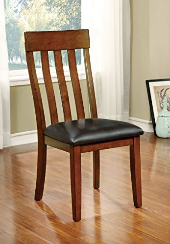 (Furniture of America Harcourt Transitional Wooden Slat-Back Dining Chair, Set of 2)