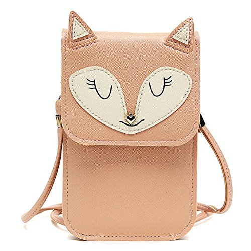 Universal Multipurpose Cute 3D Khaki Fox Design Synthetic Leather Wallet Crossbody Cell Phone Bag Mini Pouch for iPhone 6/6S,6Plus/6S Plus,Note 5,Note 4,Galaxy S7,S7 Edge