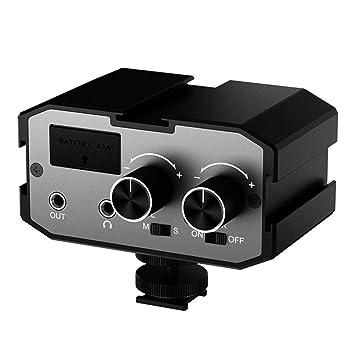 Saramonic SR-PAX1 Adaptador de micr/ófono de preamplificador de mezclador de 2 canales para guitarra Canon Nikon C/ámaras DSLR Sony Pentax Videoc/ámaras Panasonic