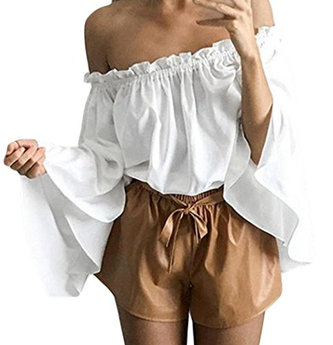 IF FEEL Women's Ruffled Off Shoulder Bell Sleeve Shirt Stripless Blouse Crop Tops ((US 12-14)L, White)