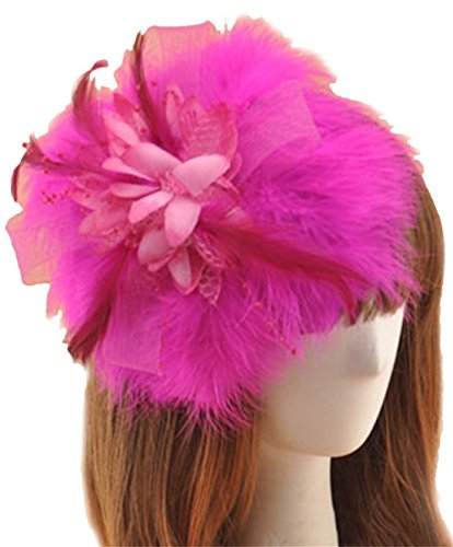 Fascinator Hair Clip Feather Headpiece Cocktail Party Wedding Hair Accessories (Rose Red)