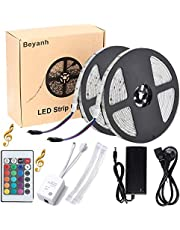 Beyanh Tira LED Música 10 m/2 x 5 m Strip Light Luz banda IP65 20rgb mando a distancia 300LEDs SMD 5050 LED de 24 teclas banda IP65 impermeable,Acortar, Divisible, Para Navidad, Fiesta, Boda